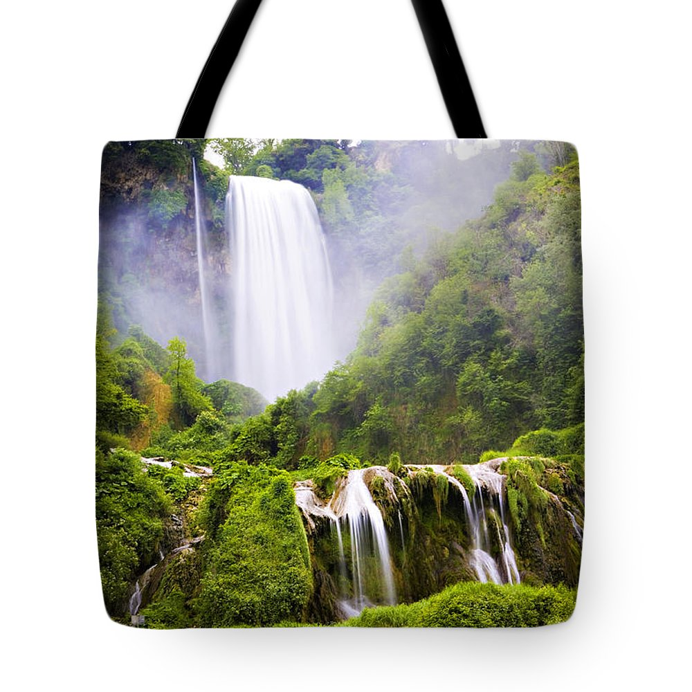 Italy Tote Bag featuring the photograph Marmore Waterfalls Italy by Marilyn Hunt