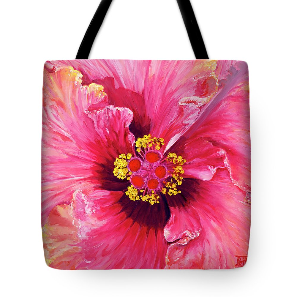 Flower Tote Bag featuring the painting Maron's Hibiscus by Bibzie Priori