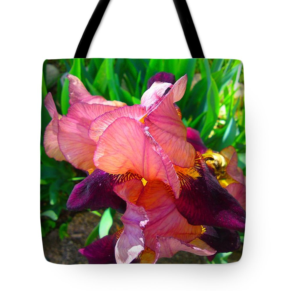 Maroon Iris Flower Tote Bag featuring the photograph Maroon Iris Flower by Gary Simmons