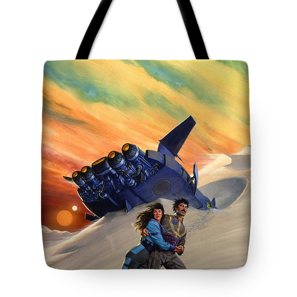 Space Tote Bag featuring the painting Marooned by Richard Hescox