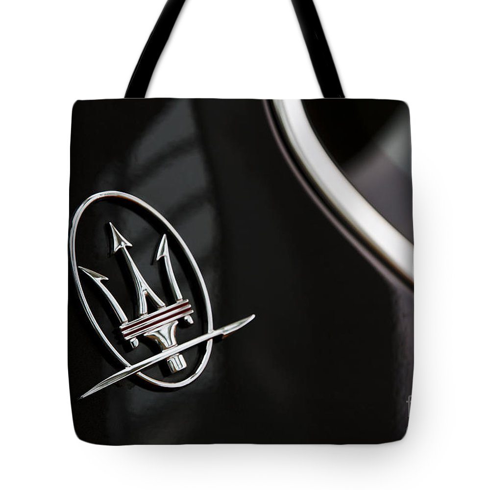 Maserati Tote Bag featuring the photograph Marque by Dennis Hedberg
