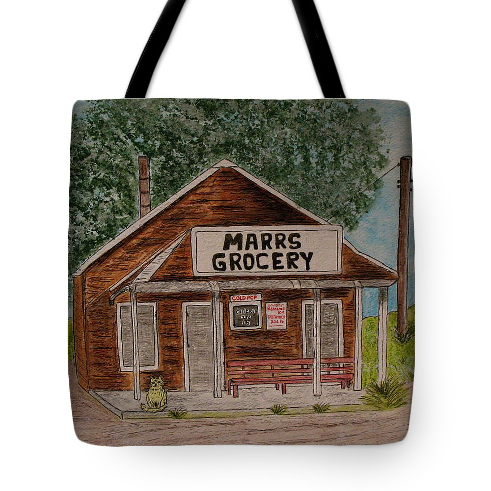 Marrs Tote Bag featuring the painting Marrs Country Grocery Store by Kathy Marrs Chandler