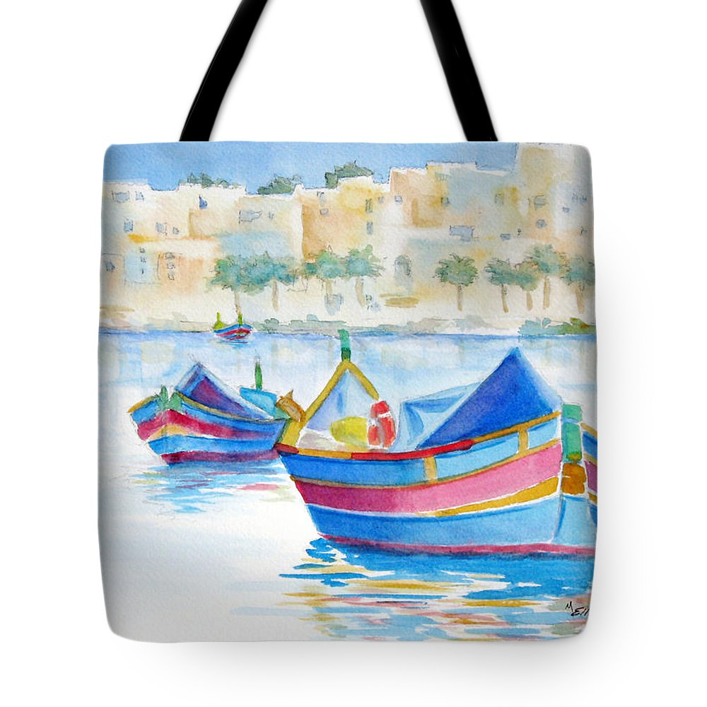 Water Tote Bag featuring the painting Marsaxlokk Bay by Marsha Elliott