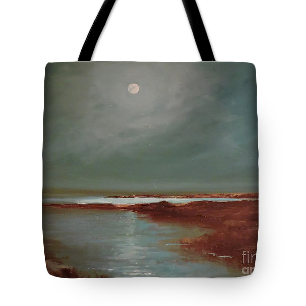 Moonlight Tote Bag featuring the painting Marsh Moon.12x16.oil by Elizabeth Lazeren