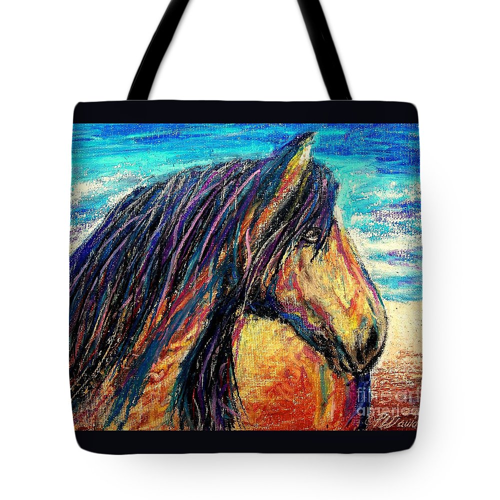 Marsh Tacky Tote Bag featuring the painting Marsh Tacky Wild Horse by Patricia L Davidson