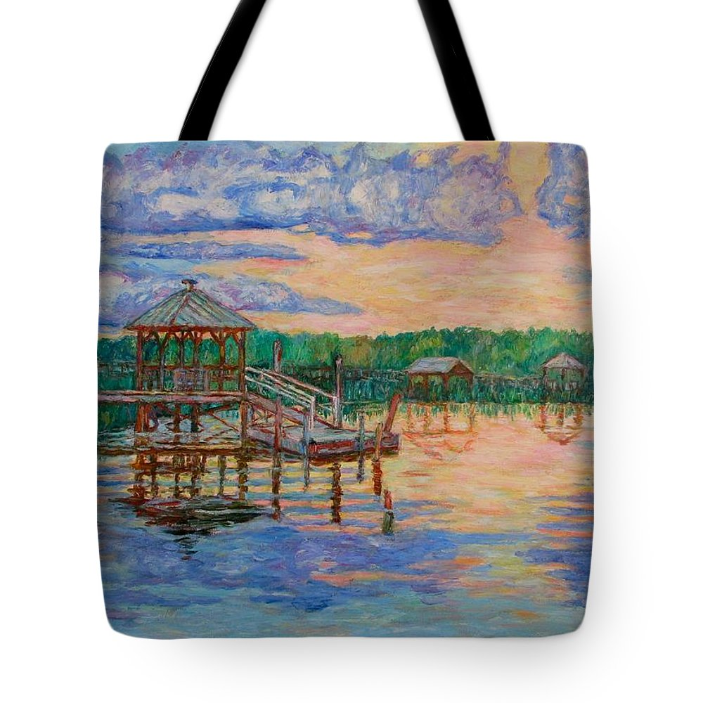 Landscape Tote Bag featuring the painting Marsh View at Pawleys Island by Kendall Kessler