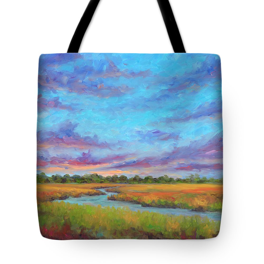 Folly Beach Tote Bag featuring the painting Marsh view from Morris Island - Folly Beach by Jeff Pittman