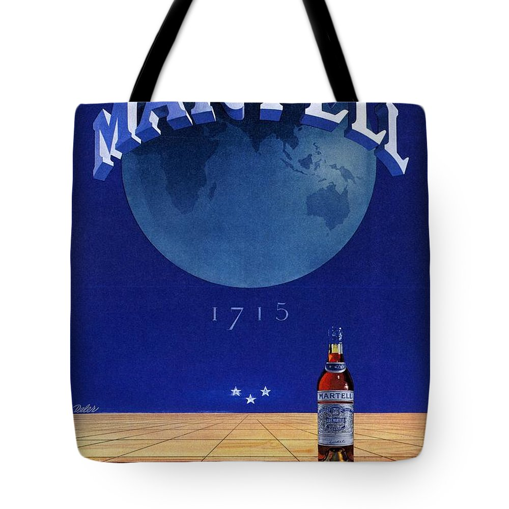 Vintage Tote Bag featuring the mixed media Martell - Cognac - Liquor - Vintage Advertising Poster by Studio Grafiikka