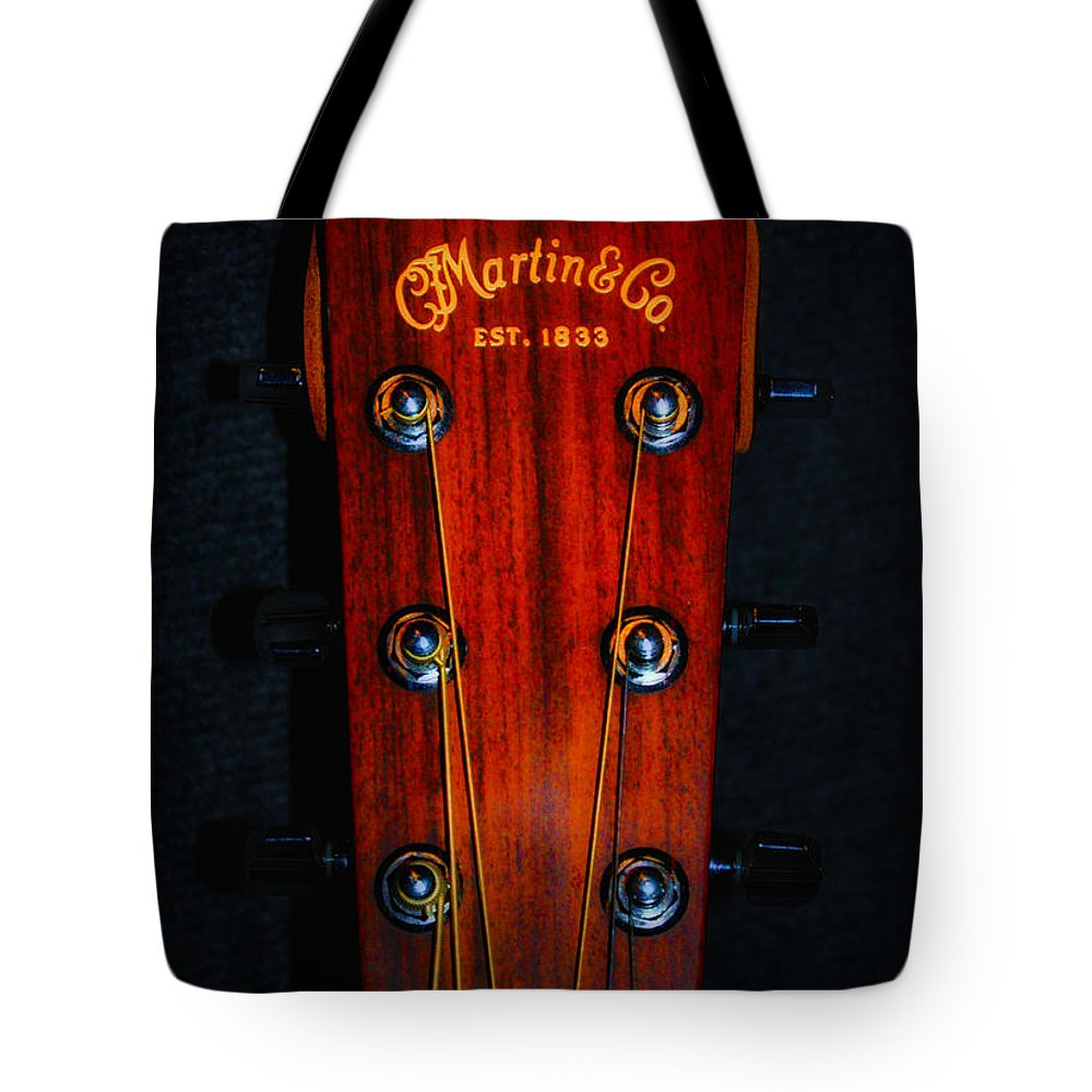Martin Tote Bag featuring the photograph Martin And Co. Headstock by Bill Cannon