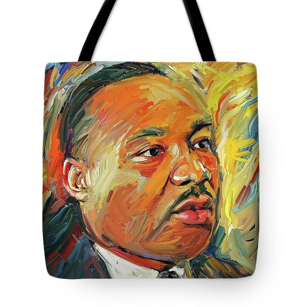 Martin Tote Bag featuring the digital art Martin Luther King Portrait 1 by Yury Malkov