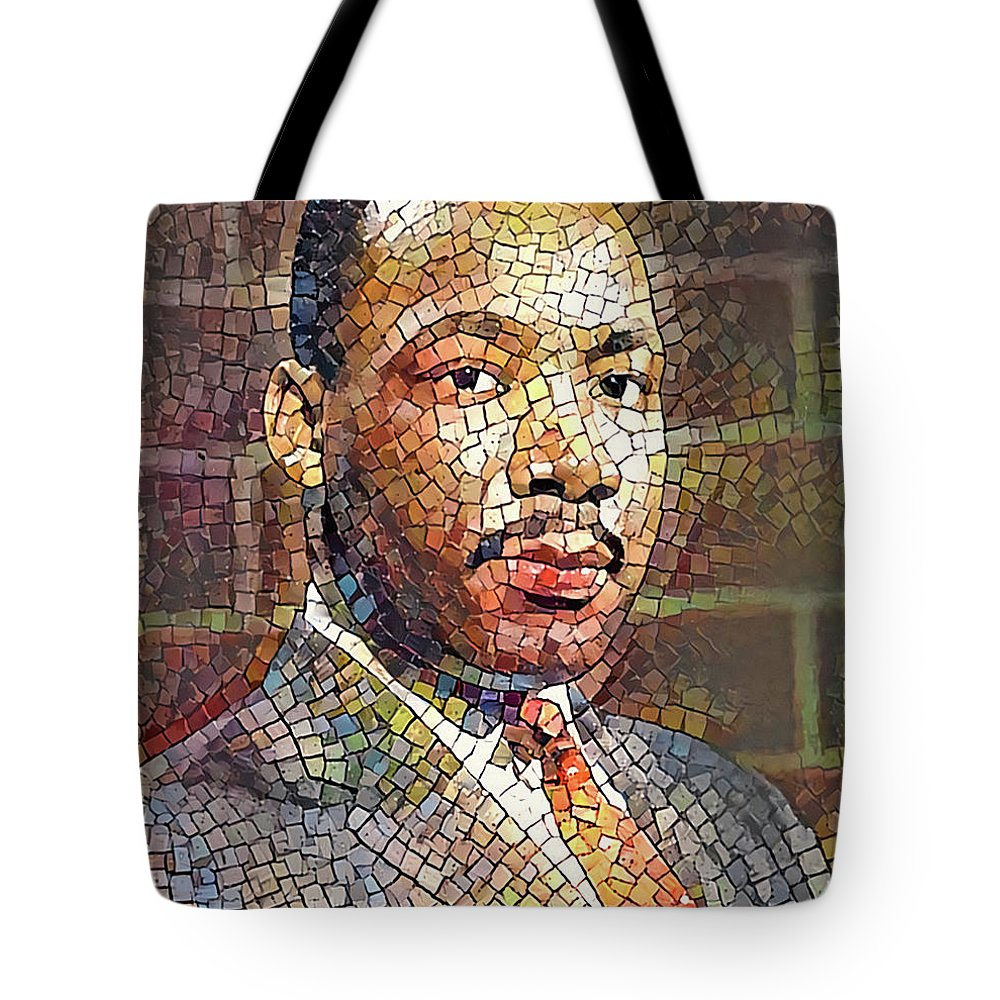 Martin Tote Bag featuring the digital art Martin Luther King Portrait Mosaic 2 by Yury Malkov