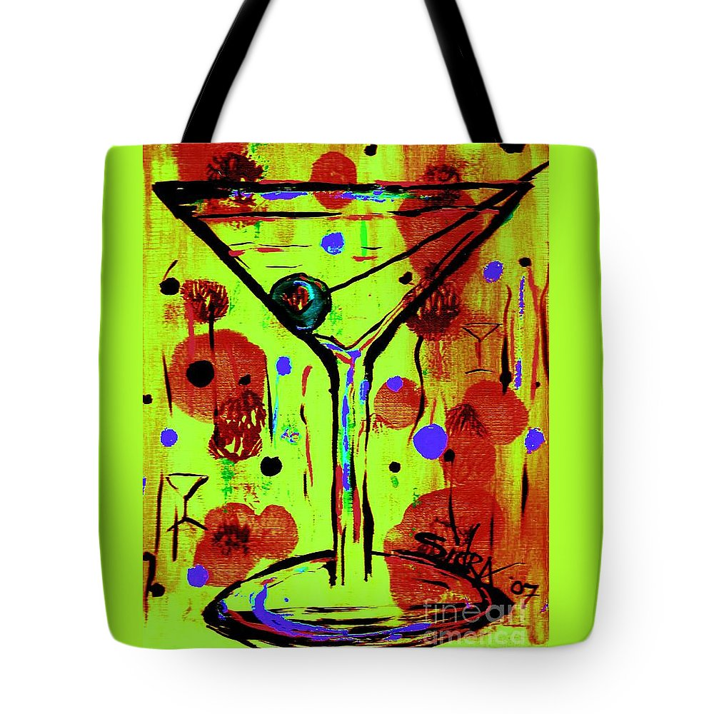 Martini Tote Bag featuring the painting Martini Madness by Sidra Myers