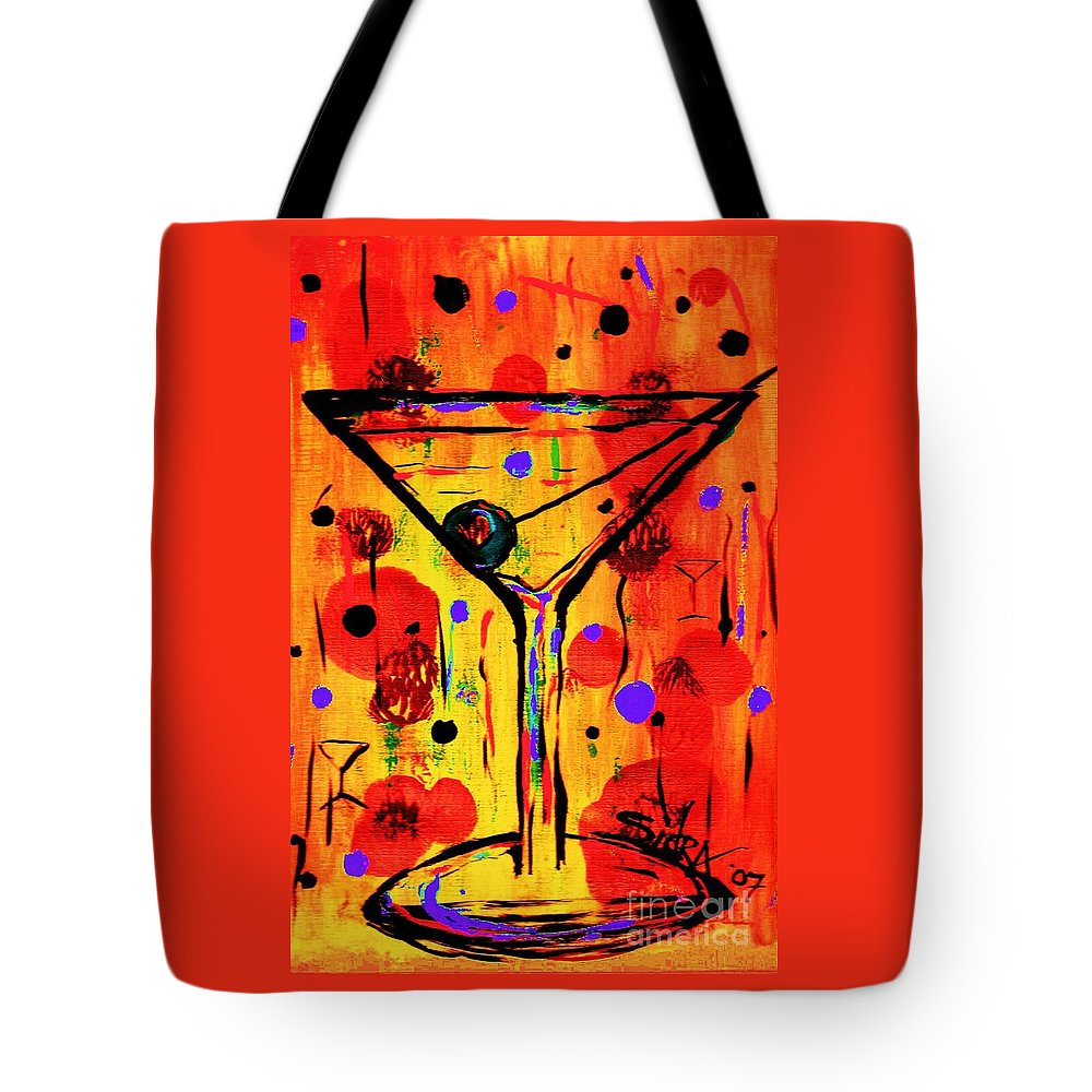 Martini Tote Bag featuring the painting Martini Twentyfive Of Sidzart Pop Art Collection by Sidra Myers