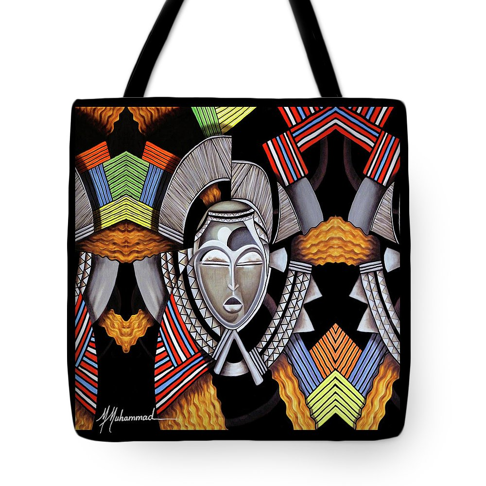 Mask Tote Bag featuring the painting Maruvian Silver Mask by Marcella Muhammad
