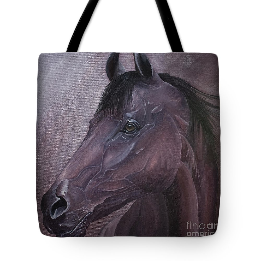 Horse Marwari Equine Purple Tote Bag featuring the painting Marwari Purple by Pauline Sharp
