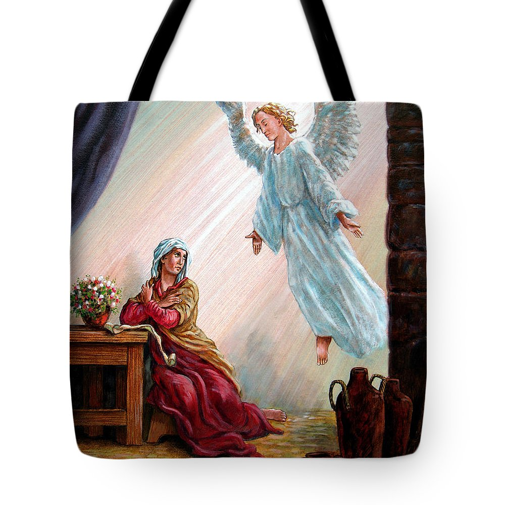 Angel Tote Bag featuring the painting Mary and Angel by John Lautermilch