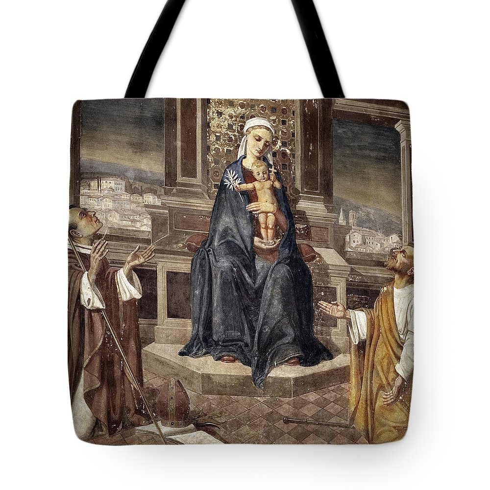 Italy Italian Mary Jesus Men Fresco Religious Religion Paint Painted Old Ancient Catholic Tote Bag featuring the photograph Mary And Baby Jesus by Marilyn Hunt
