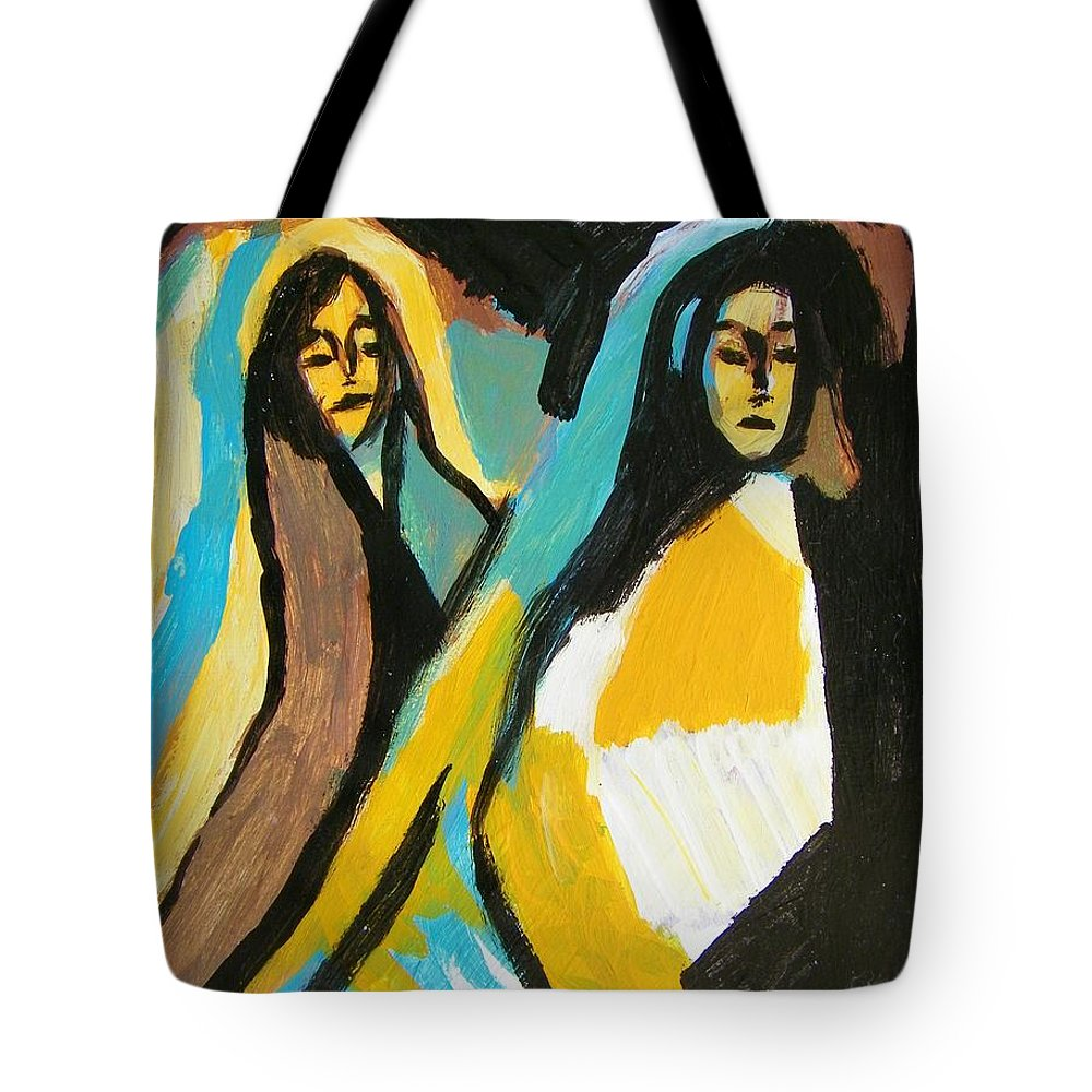 Abstract Tote Bag featuring the painting Mary And Josephine by Judith Redman