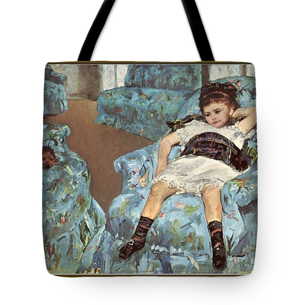 Pajama Tote Bag featuring the digital art Mary Cassatt-little Girl In A Blue Armchair1878 Po Amp 059 Mary Cassatt by Eloisa Mannion
