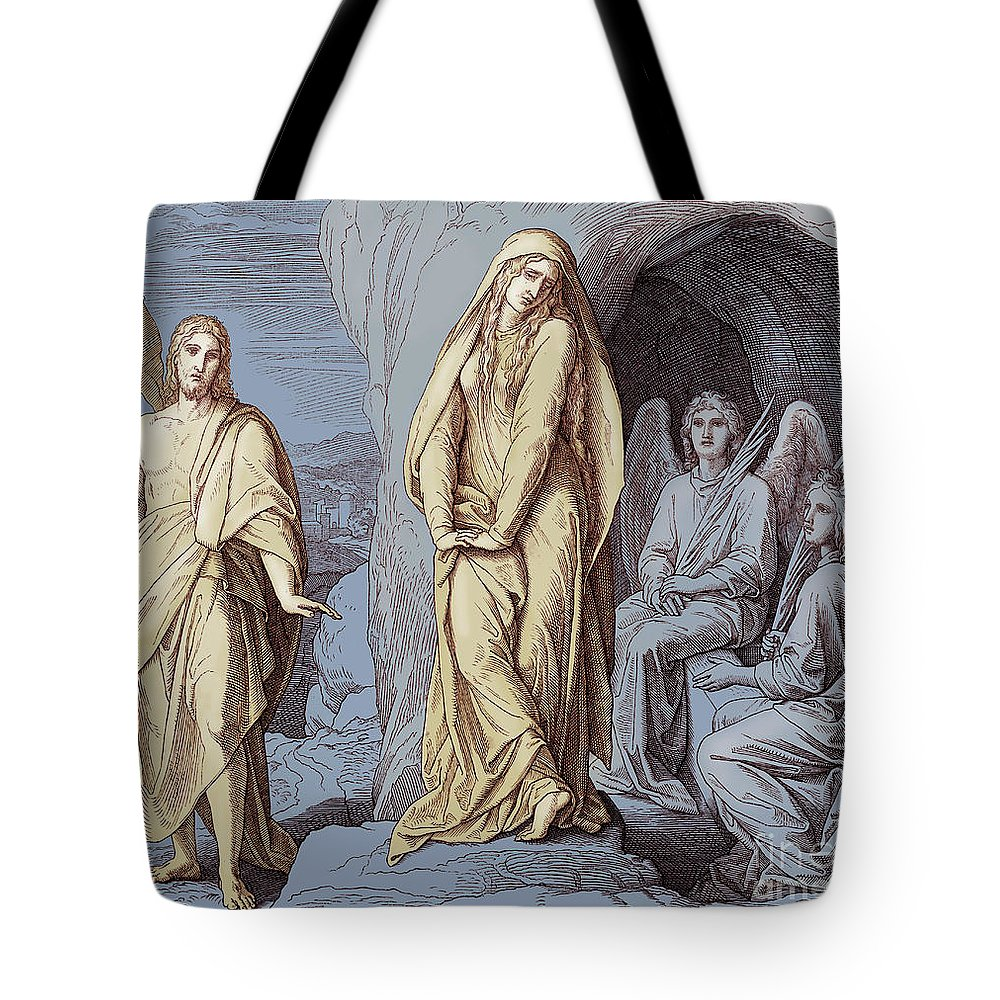 Mary Magdalene Tote Bag featuring the drawing Mary Magdalene At The Tomb Of Christ, Gospel Of John by Julius Schnorr von Carolsfeld