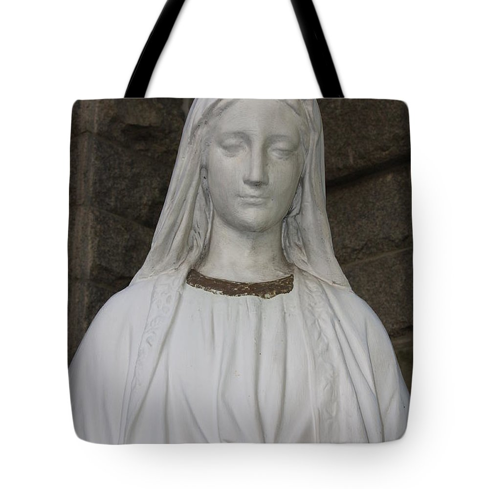 Sacred Heart Cathedral Tote Bag featuring the photograph Mary Statue At Sacred Heart In Tampa by Carol Groenen