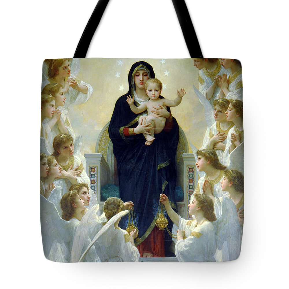 Mary Tote Bag featuring the photograph Mary With Angels by Munir Alawi