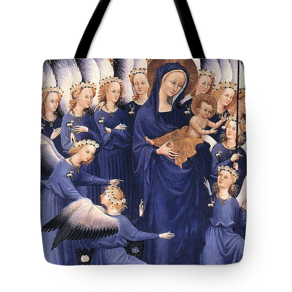 Paintings Tote Bag featuring the painting Mary With Baby Jesus by Munir Alawi