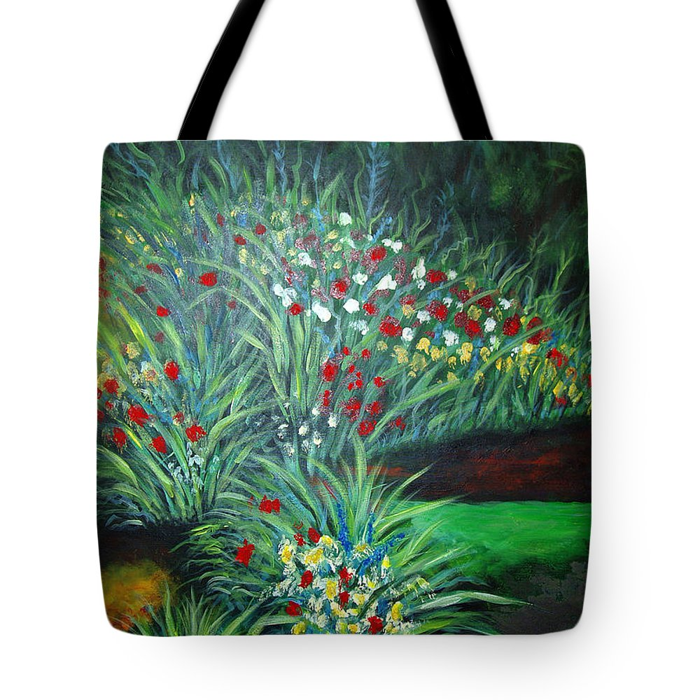 Landscape Tote Bag featuring the painting Maryann's Garden 3 by Nancy Mueller