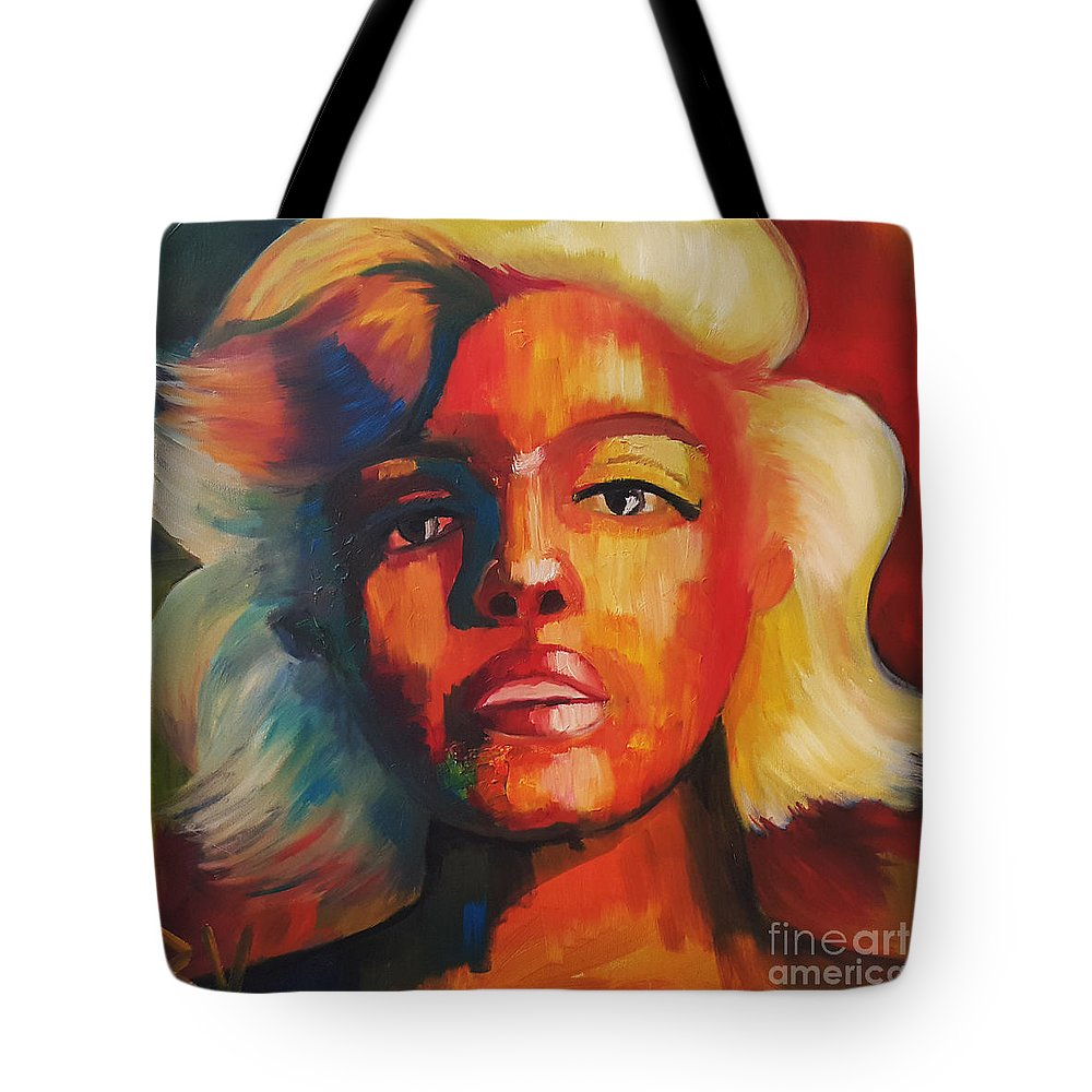 #monroe #marylin #celebrity #oilpainting #colorfull Tote Bag featuring the painting Marilyn by Veronika Bernhardt
