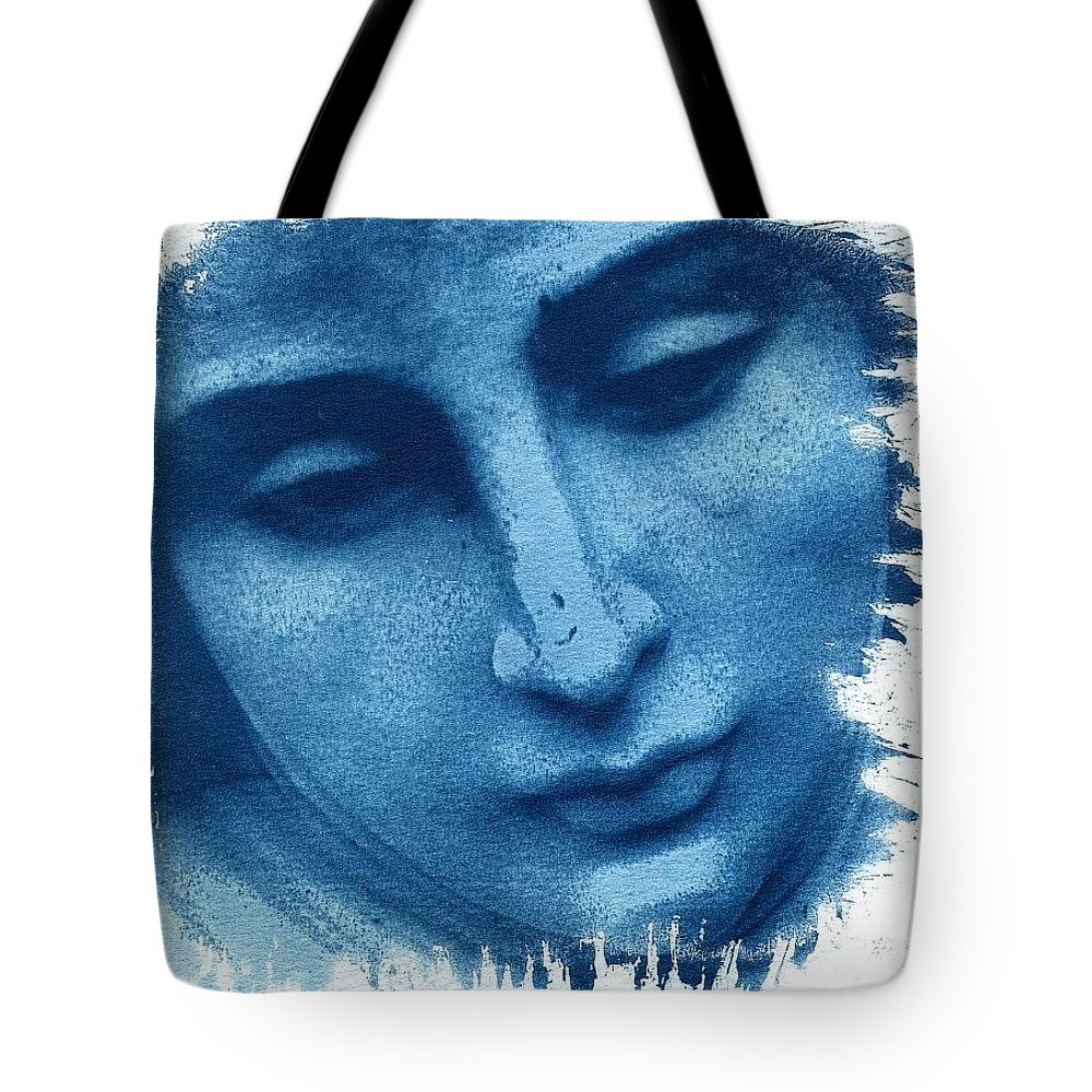 Blue Tote Bag featuring the photograph Marys Blues by Jane Linders