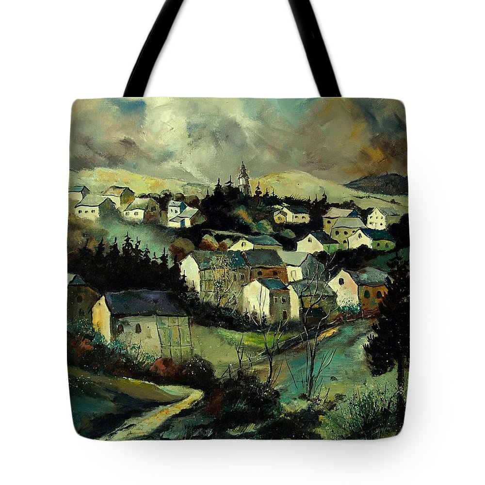 Winter Tote Bag featuring the painting Masbourg by Pol Ledent