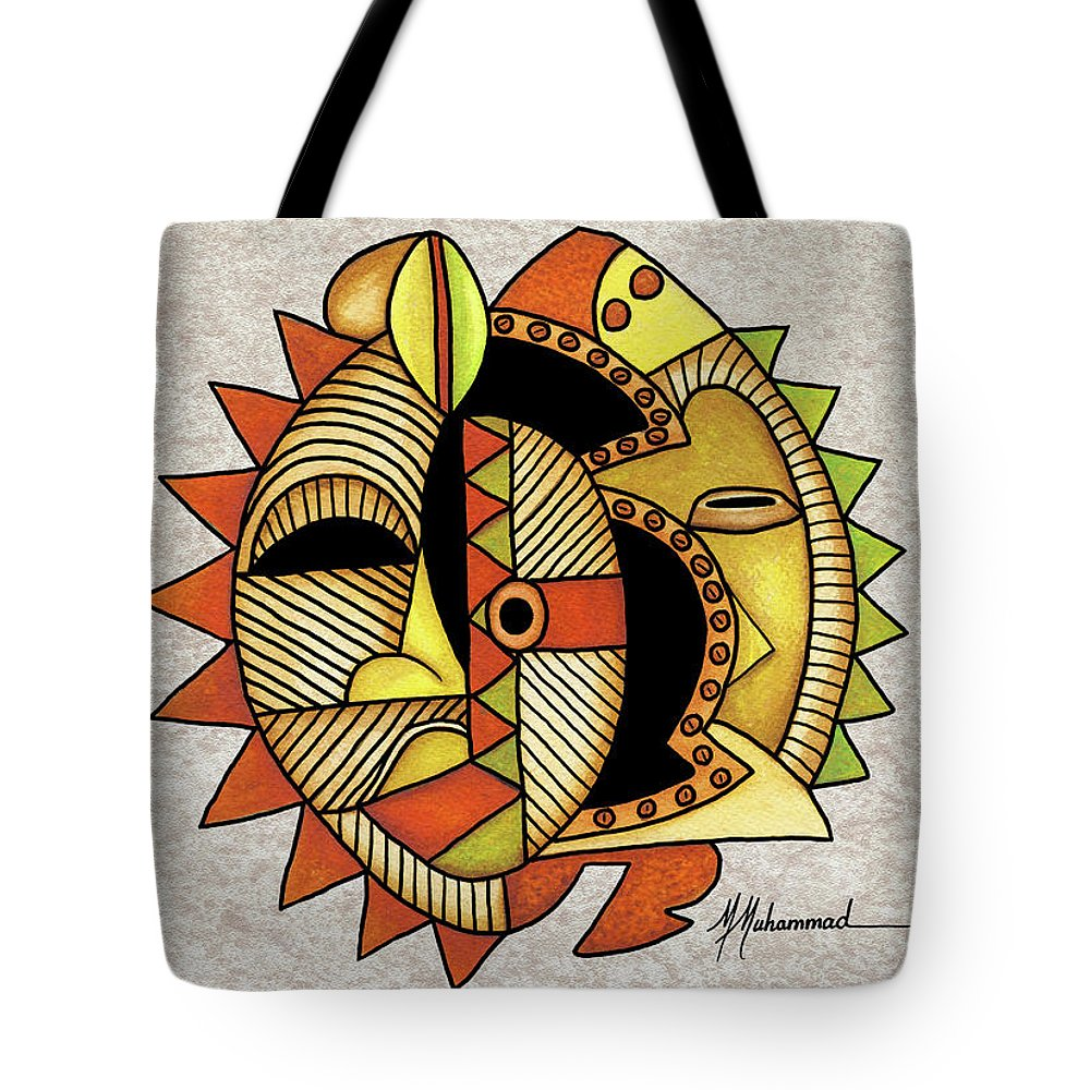 Mask Tote Bag featuring the painting Mask 3 by Marcella Muhammad