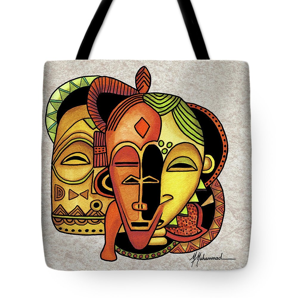 Mask Tote Bag featuring the painting Mask 6 by Marcella Muhammad