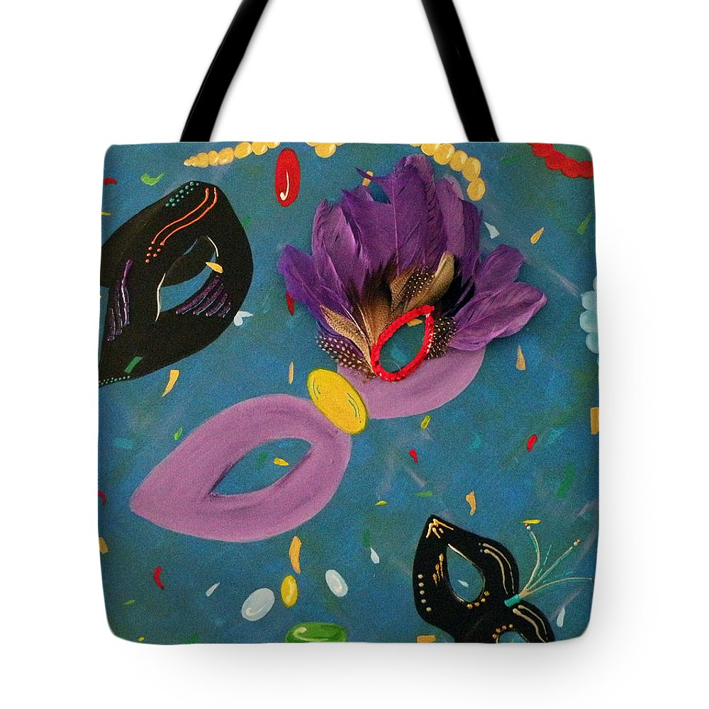 Mardi Tote Bag featuring the mixed media Mask Party by Kayon Cox