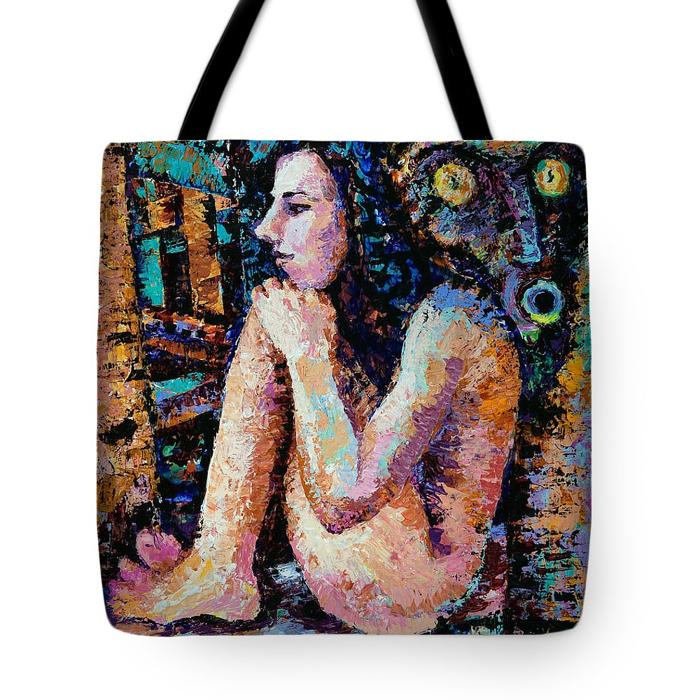 Woman Tote Bag featuring the painting Mask by Yelena Tylkina