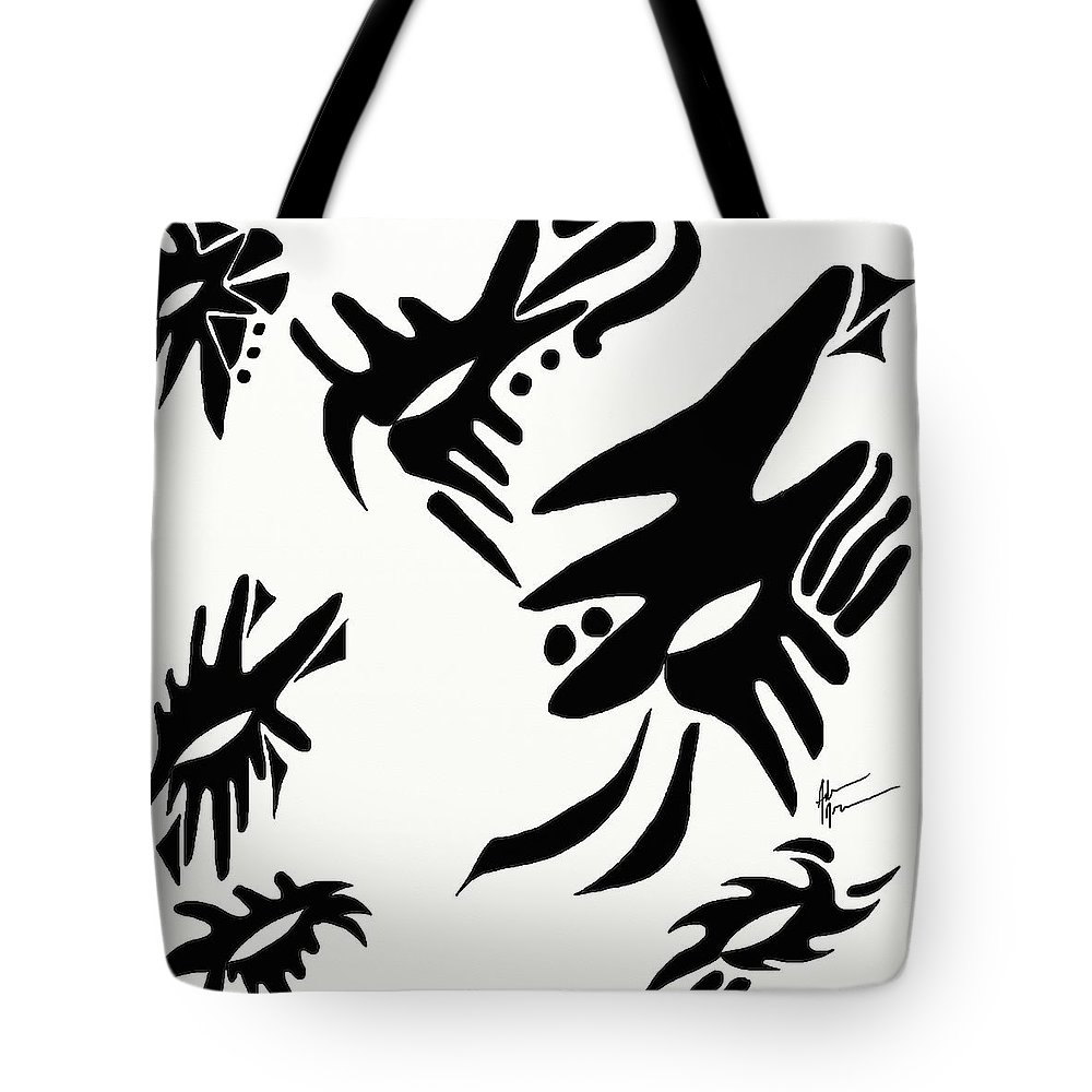 Masks Tote Bag featuring the digital art Masks by Adam Norman