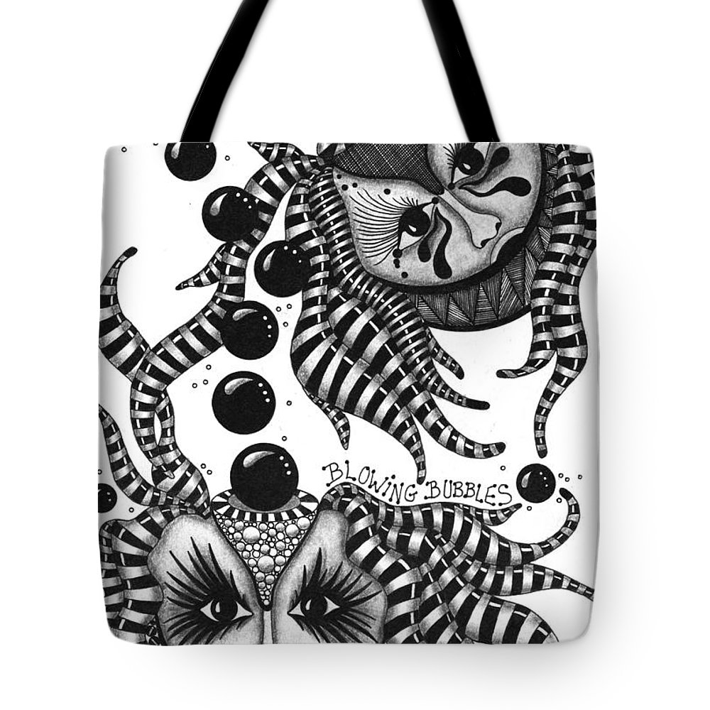 Pen Tote Bag featuring the drawing Masks Blowing Bubbles by Cathy Nestroyl