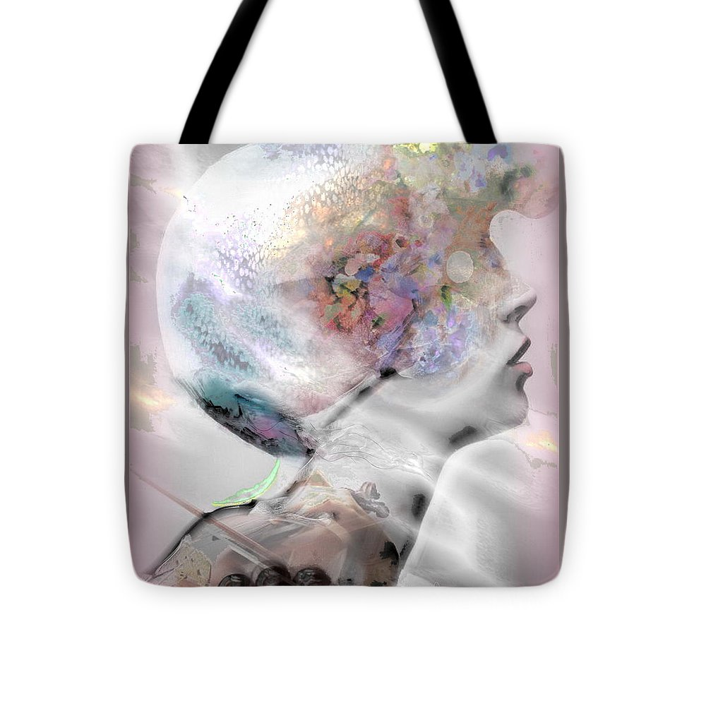 Face Tote Bag featuring the mixed media Masque Eclatant by Freddy Kirsheh