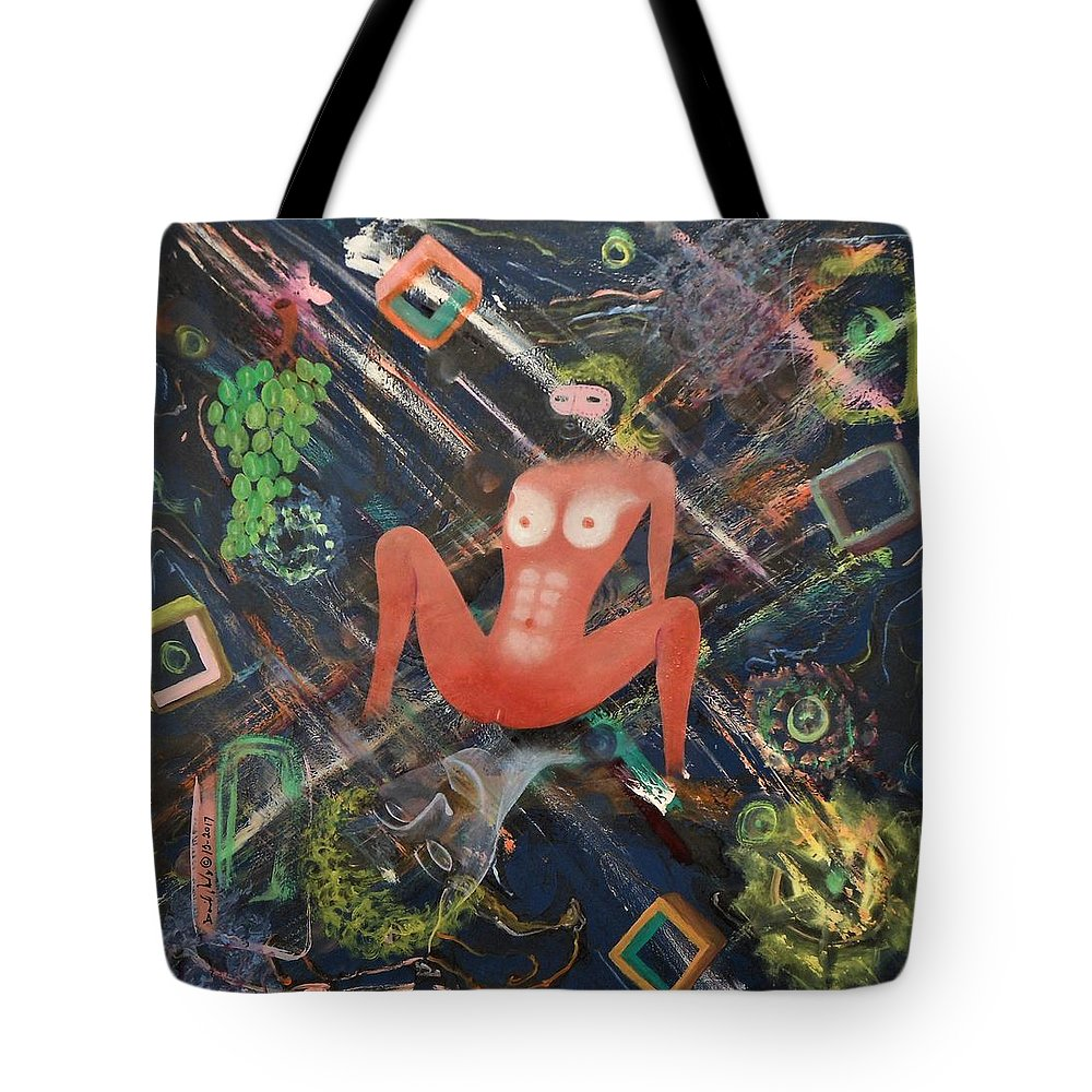 Nudity Woman Female Breasts Tits Abs Sexy Erotic Dungeon Restrained Brown White Nipples Legs Arm Grapes Green Blue Mask Imagination Squares Lines Vagina Lips Ass Fantasy Illusion Dreaming Erotic Domination Bottom Stimulation Reality Tote Bag featuring the painting Masquerade by David Mintz