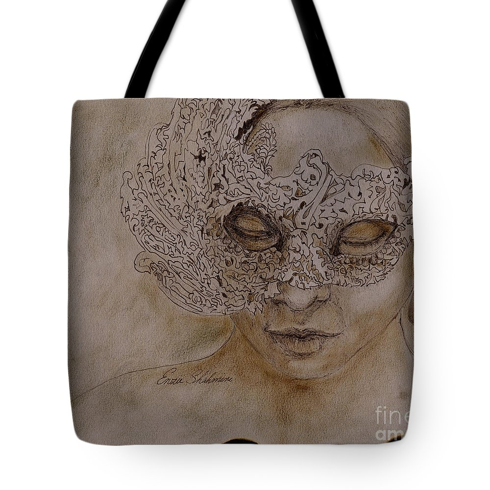 Mask Tote Bag featuring the drawing Masquerade by Enzie Shahmiri
