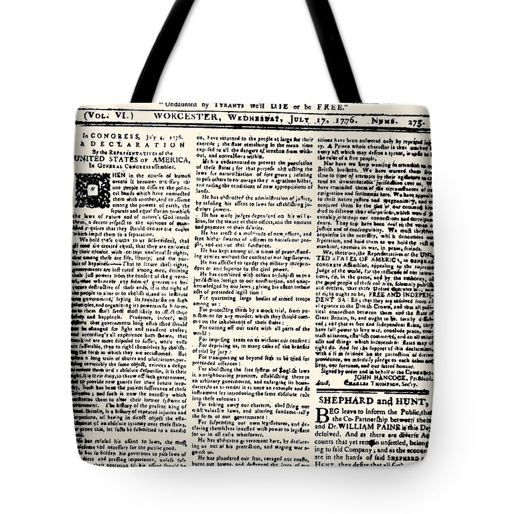 1776 Tote Bag featuring the photograph Massachusetts Spy, 1776 by Granger