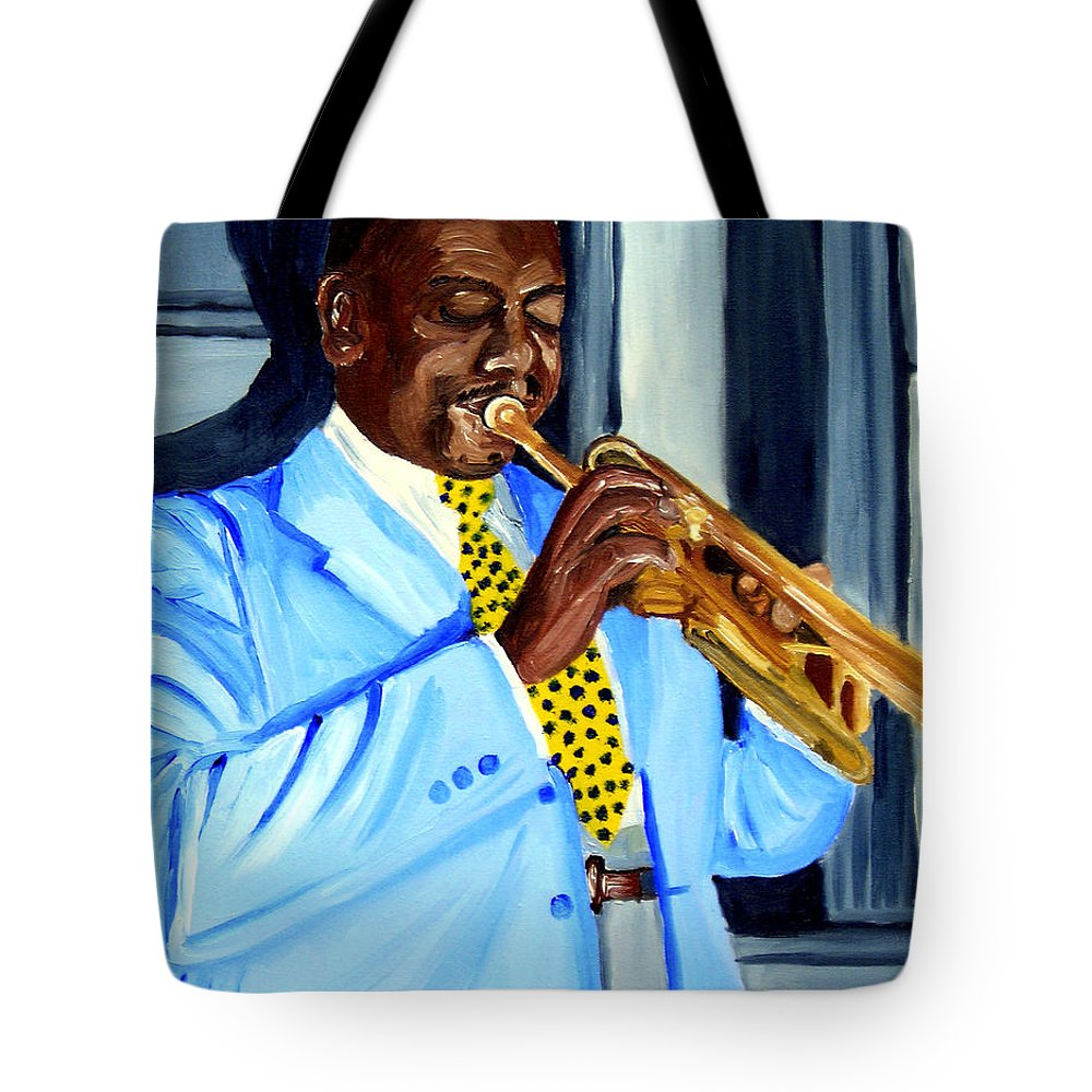 Street Musician Tote Bag featuring the painting Master Of Jazz by Michael Lee