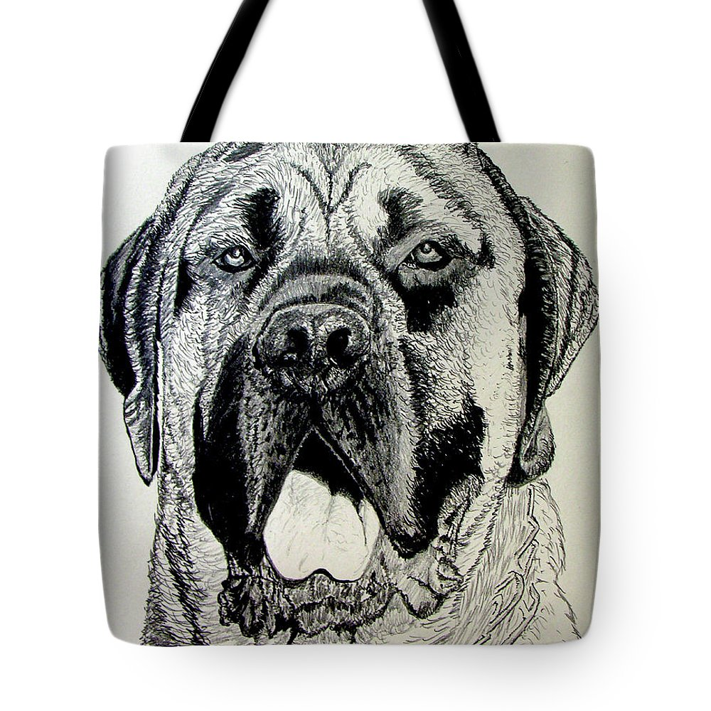 Mastiff Tote Bag featuring the drawing Mastiff by Stan Hamilton