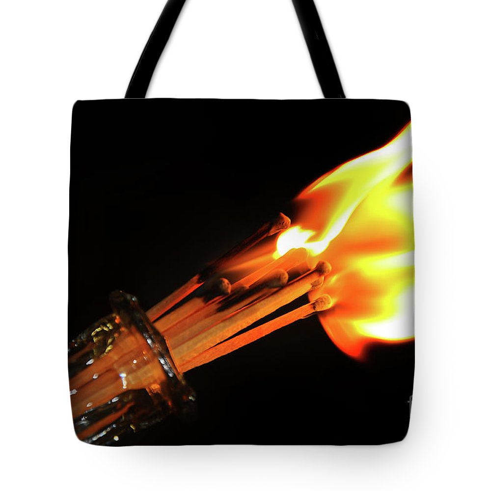 Matchstick Inferno Tote Bag featuring the photograph Matchstick Inferno 2 by Andee Design