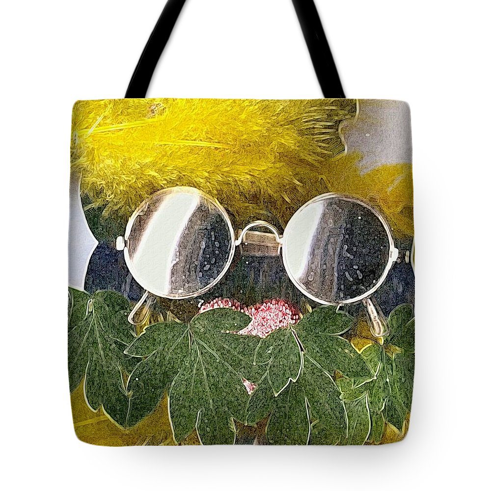 Acryl Tote Bag featuring the mixed media Materials And Eyeglasses by Pepita Selles