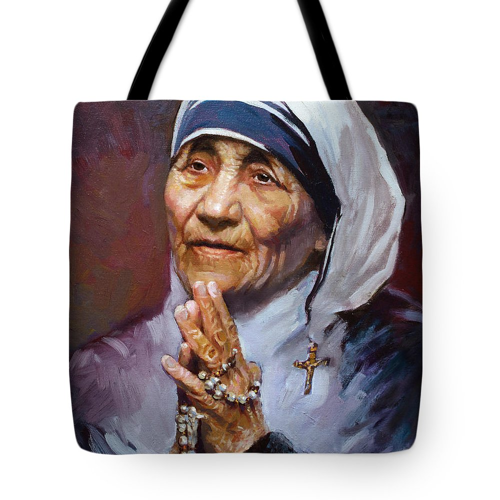 Mother Teresa Artwork Tote Bag featuring the painting Mother Teresa by Ylli Haruni