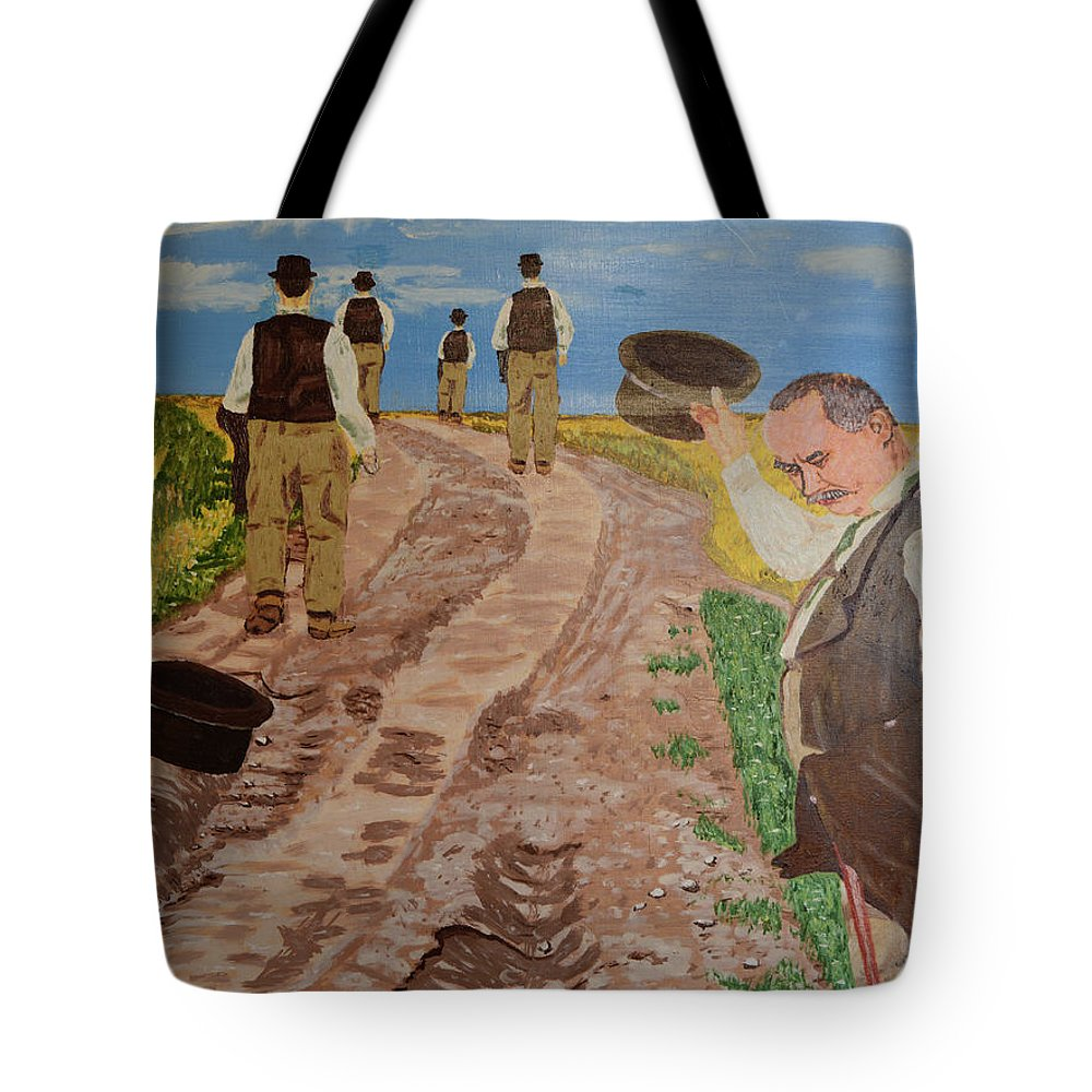 Surrealism Tote Bag featuring the painting Maturity. Farewell To The Past. Waiting For Old Age. by Borislav Taro