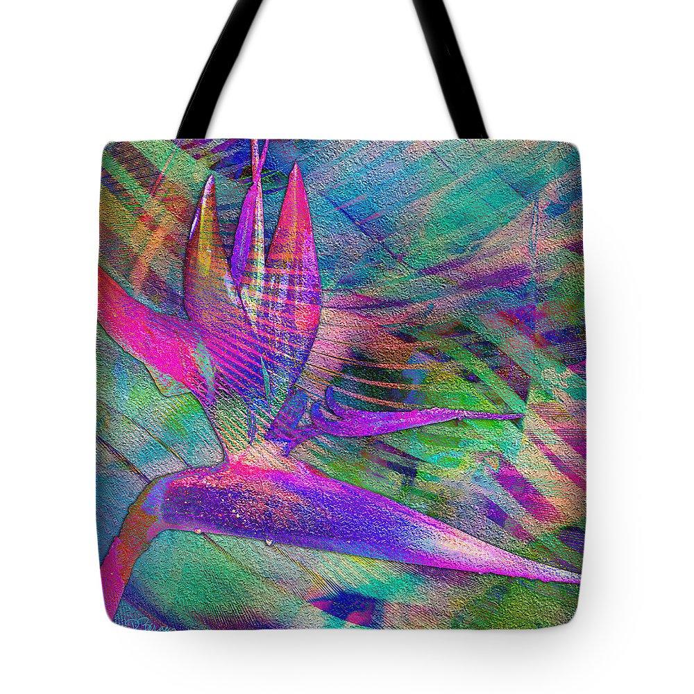 Maui Tote Bag featuring the digital art Maui Bird Of Paradise by Barbara Berney