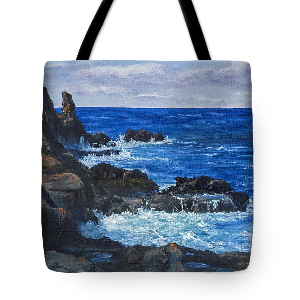 Seascape Tote Bag featuring the painting Maui Rugged Coastline by Darice Machel McGuire