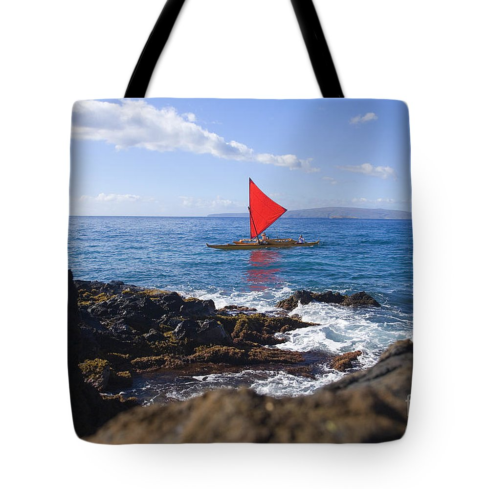 Aku Tote Bag featuring the photograph Maui Sailing Canoe by Ron Dahlquist - Printscapes